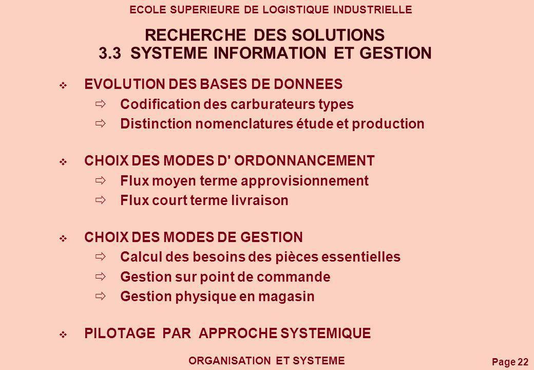 RECHERCHE DES SOLUTIONS 3.3 SYSTEME INFORMATION ET GESTION