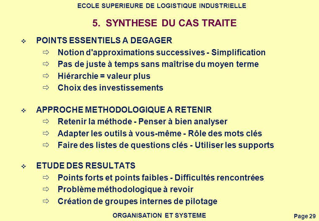 5. SYNTHESE DU CAS TRAITE POINTS ESSENTIELS A DEGAGER