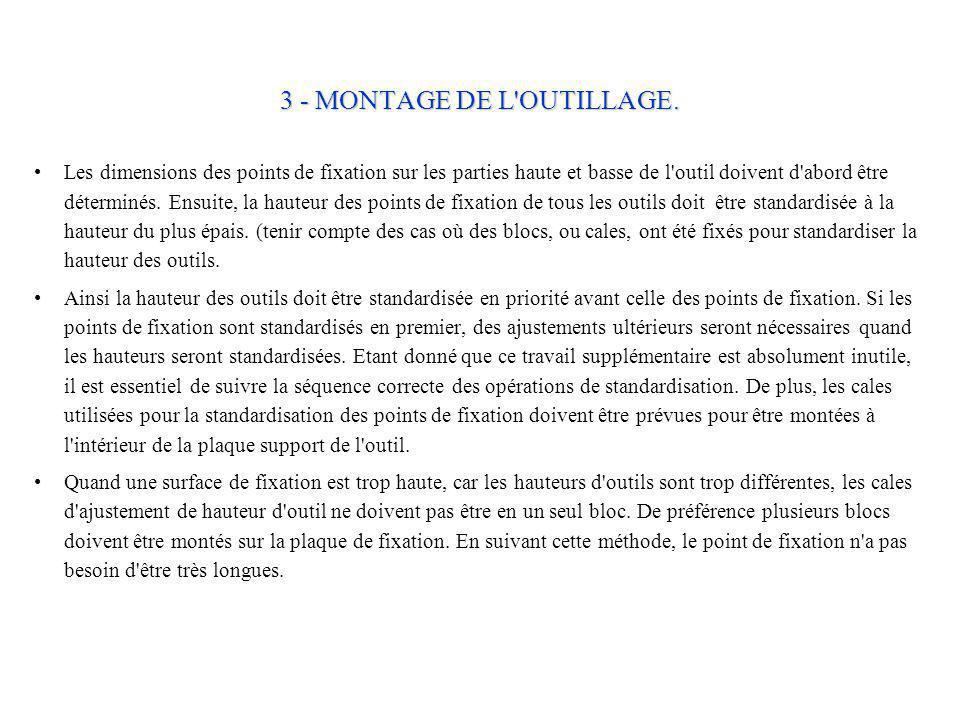 3 - MONTAGE DE L OUTILLAGE.