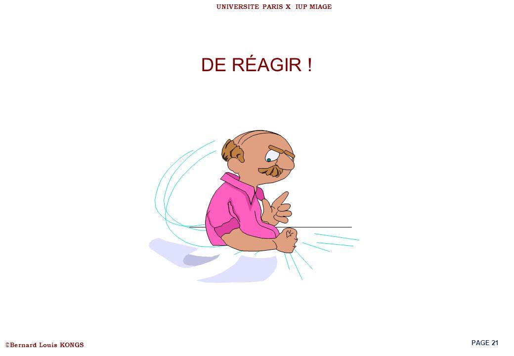 DE RÉAGIR !