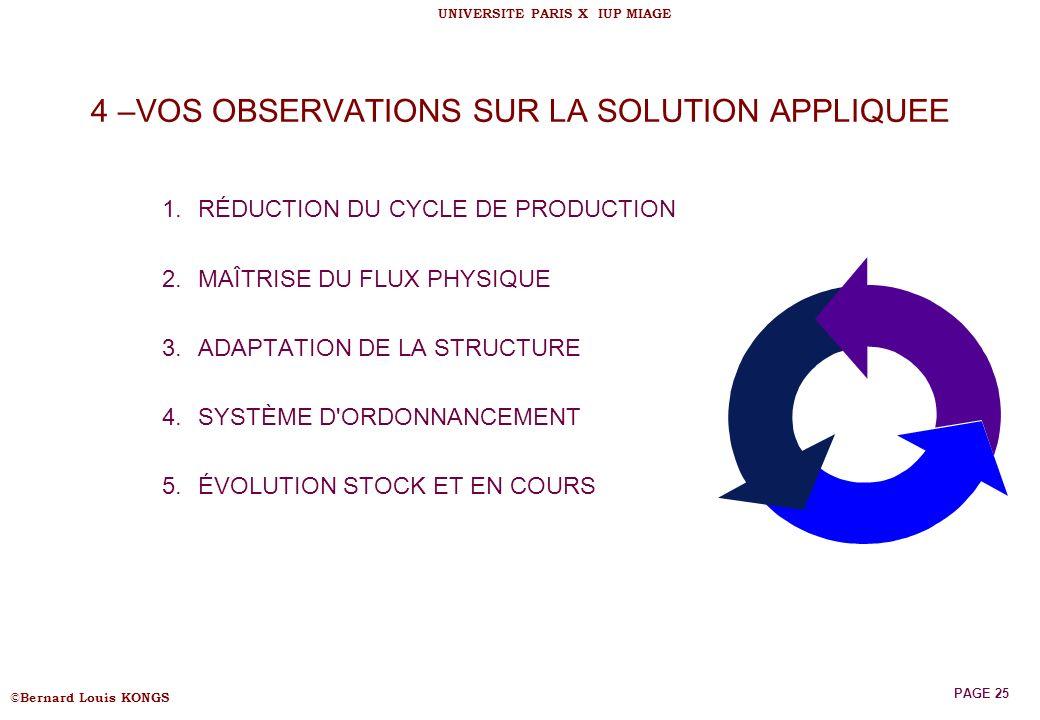 4 –VOS OBSERVATIONS SUR LA SOLUTION APPLIQUEE