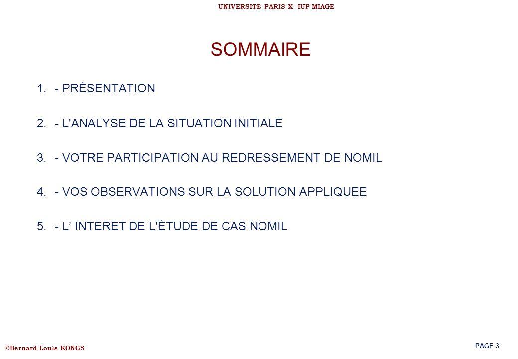 SOMMAIRE - PRÉSENTATION - L ANALYSE DE LA SITUATION INITIALE