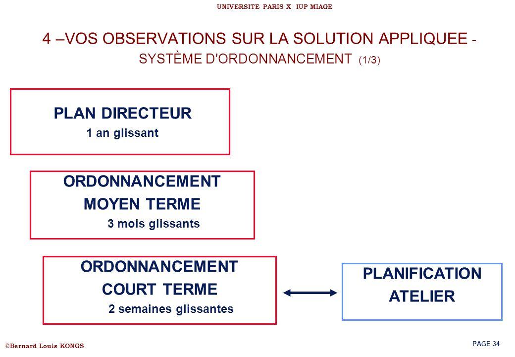 4 –VOS OBSERVATIONS SUR LA SOLUTION APPLIQUEE - SYSTÈME D ORDONNANCEMENT (1/3)