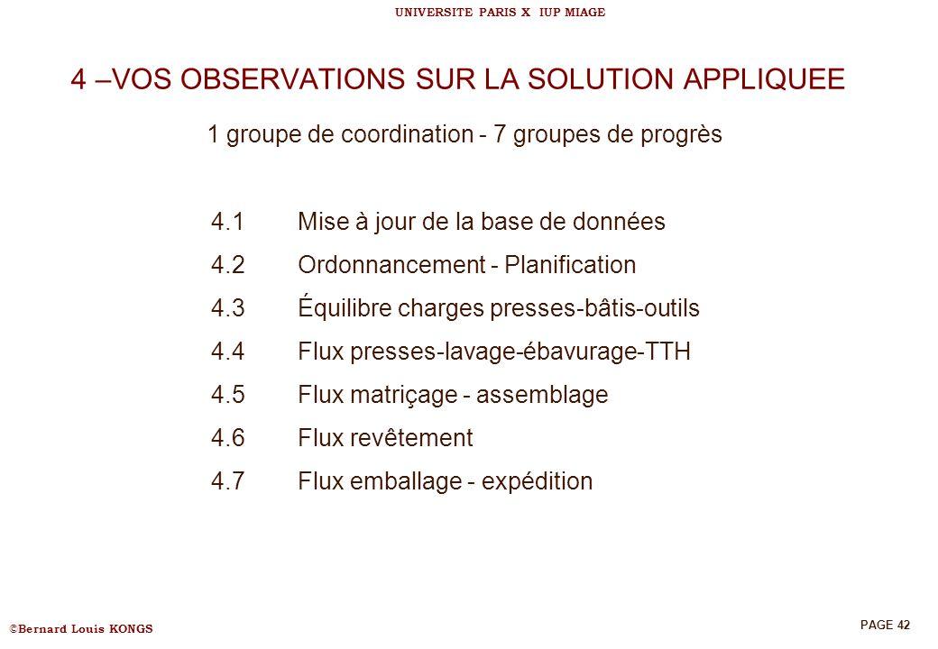 4 –VOS OBSERVATIONS SUR LA SOLUTION APPLIQUEE 1 groupe de coordination - 7 groupes de progrès