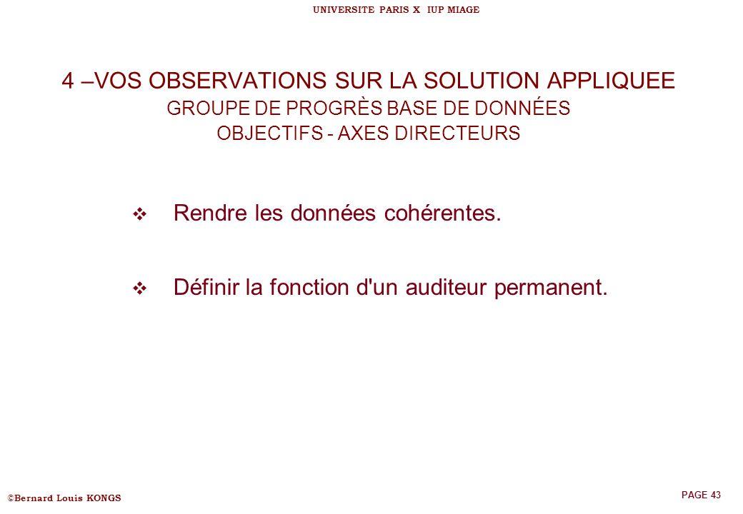 4 –VOS OBSERVATIONS SUR LA SOLUTION APPLIQUEE GROUPE DE PROGRÈS BASE DE DONNÉES OBJECTIFS - AXES DIRECTEURS