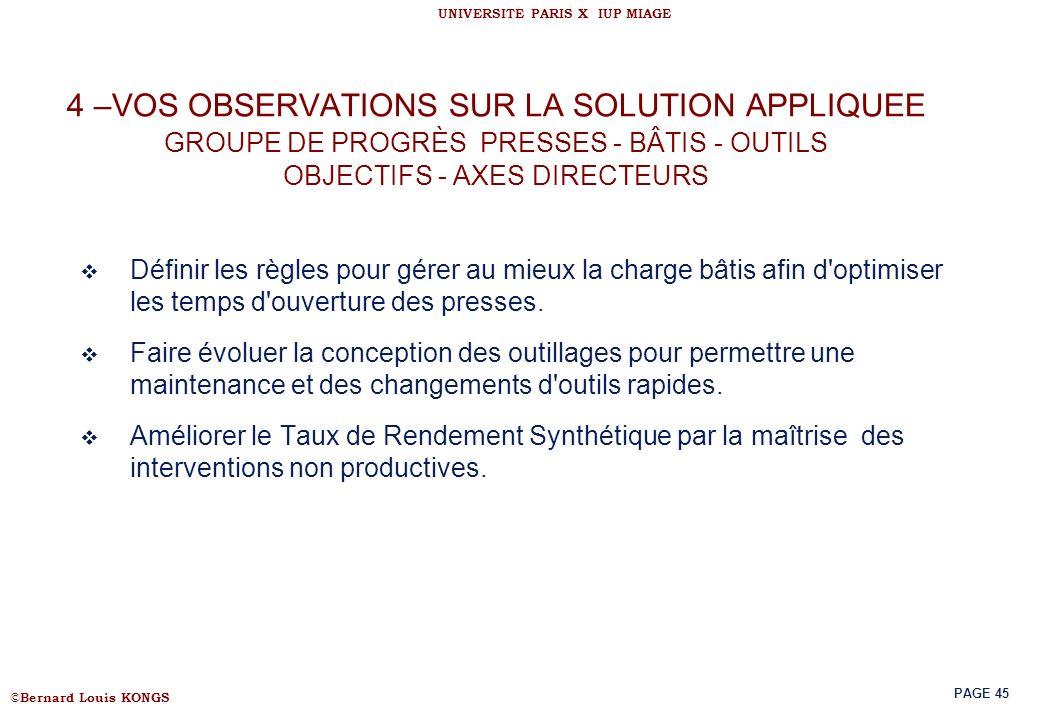4 –VOS OBSERVATIONS SUR LA SOLUTION APPLIQUEE GROUPE DE PROGRÈS PRESSES - BÂTIS - OUTILS OBJECTIFS - AXES DIRECTEURS