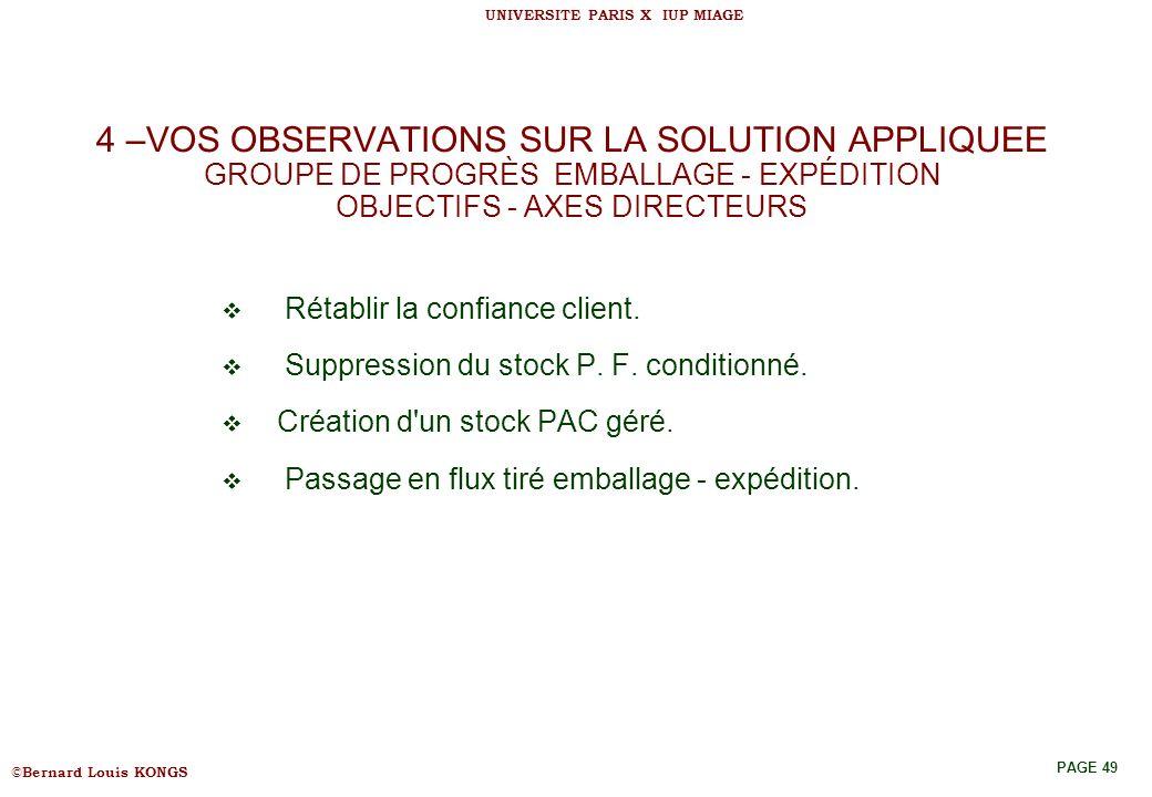 4 –VOS OBSERVATIONS SUR LA SOLUTION APPLIQUEE GROUPE DE PROGRÈS EMBALLAGE - EXPÉDITION OBJECTIFS - AXES DIRECTEURS