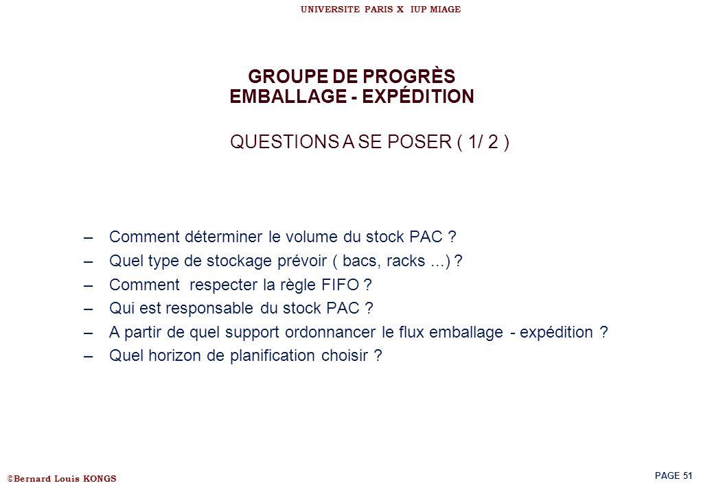 GROUPE DE PROGRÈS EMBALLAGE - EXPÉDITION
