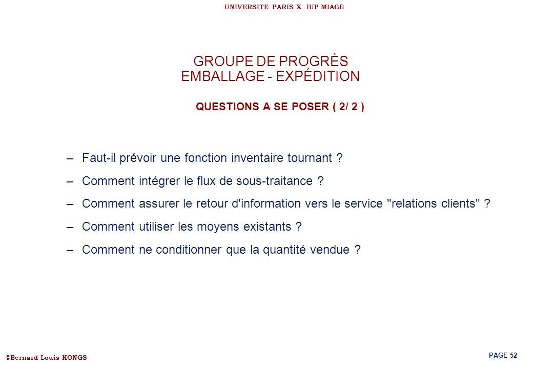 GROUPE DE PROGRÈS EMBALLAGE - EXPÉDITION QUESTIONS A SE POSER ( 2/ 2 )
