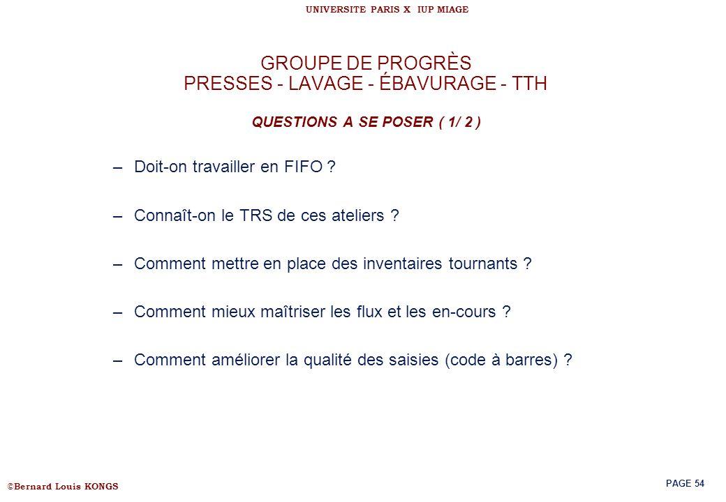GROUPE DE PROGRÈS PRESSES - LAVAGE - ÉBAVURAGE - TTH QUESTIONS A SE POSER ( 1/ 2 )
