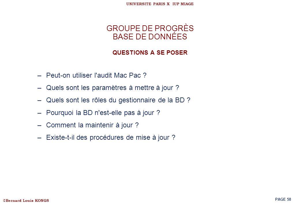 GROUPE DE PROGRÈS BASE DE DONNÉES QUESTIONS A SE POSER