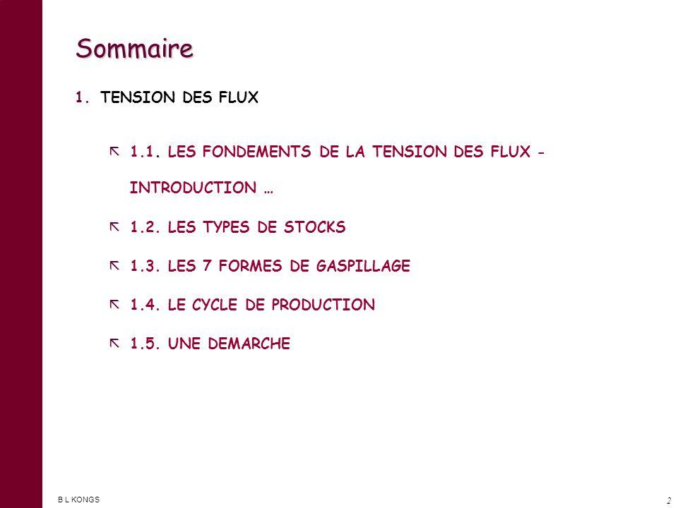 Sommaire TENSION DES FLUX