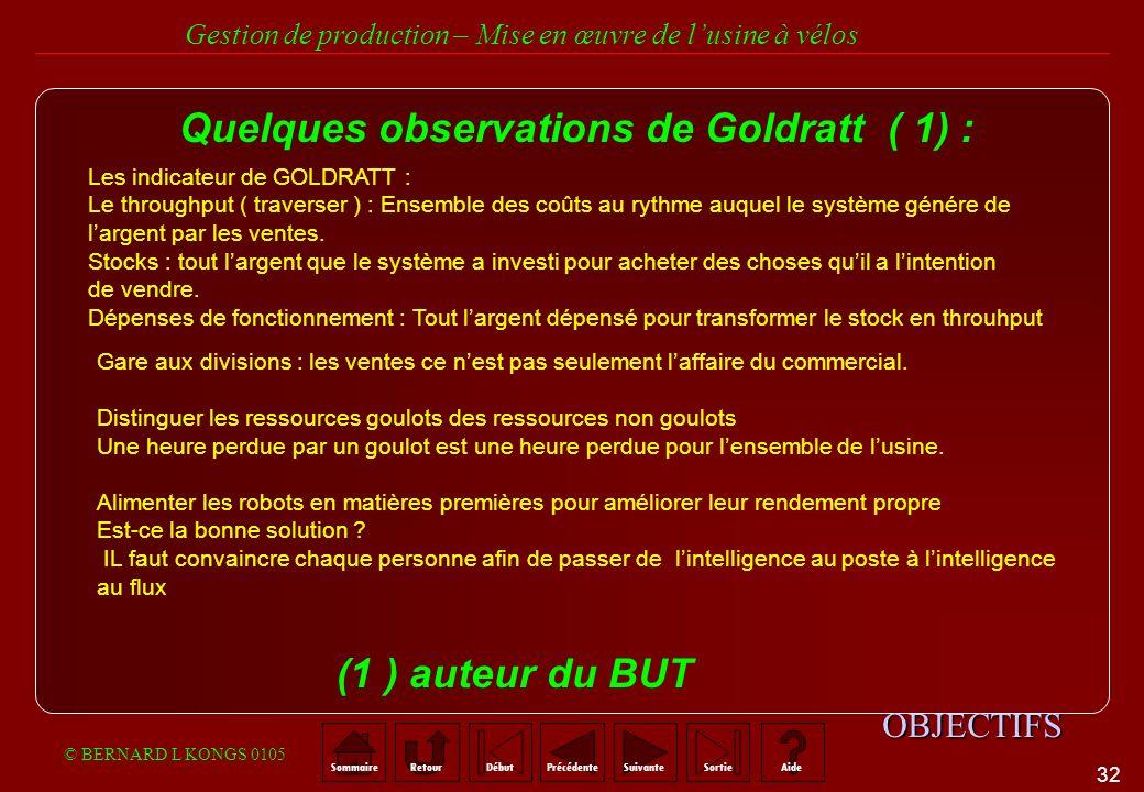Quelques observations de Goldratt ( 1) :