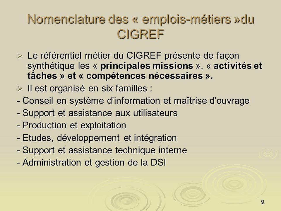 Nomenclature des « emplois-métiers »du CIGREF