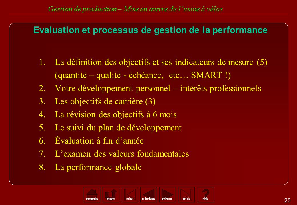 Evaluation et processus de gestion de la performance