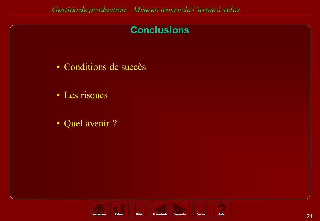 Conclusions Conditions de succès Les risques Quel avenir