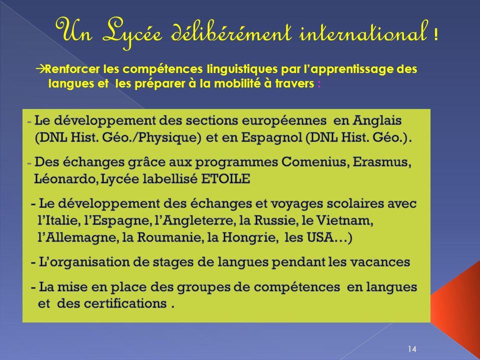 Un Lycée délibérément international !