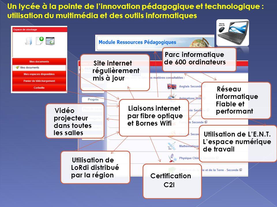 Un lycée à la pointe de l'innovation pédagogique et technologique : utilisation du multimédia et des outils informatiques