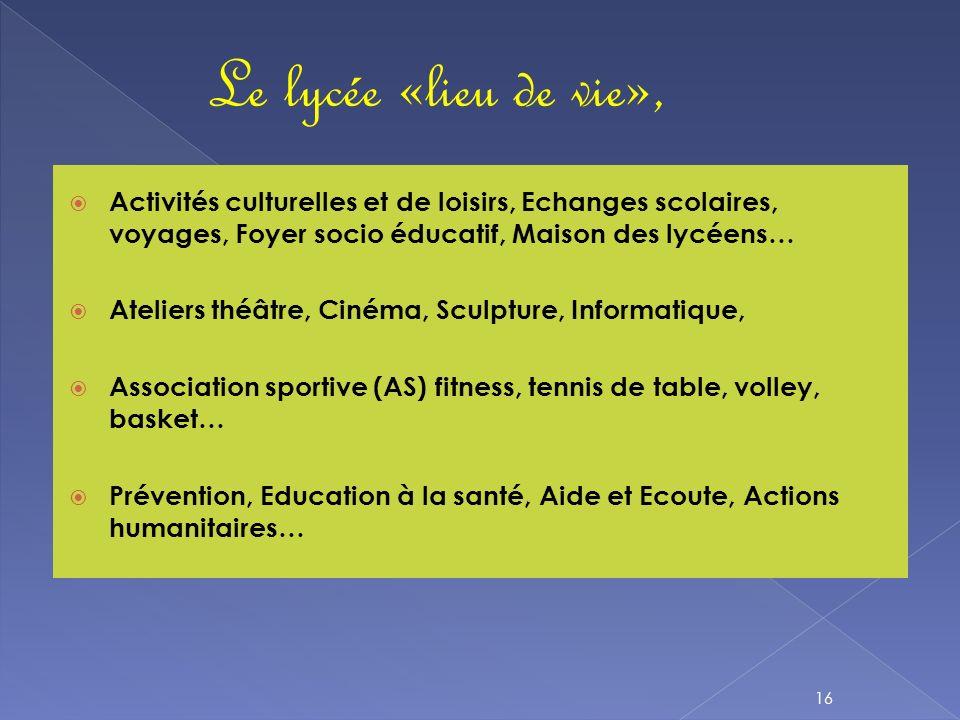 Le lycée «lieu de vie»,Activités culturelles et de loisirs, Echanges scolaires, voyages, Foyer socio éducatif, Maison des lycéens…