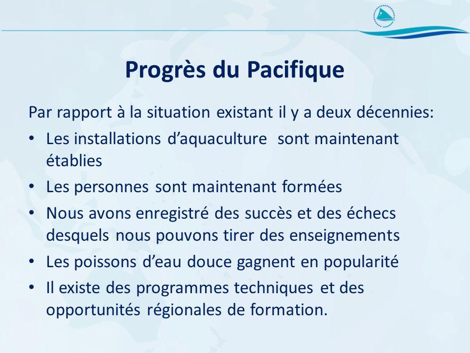 Progrès du Pacifique Par rapport à la situation existant il y a deux décennies: Les installations d'aquaculture sont maintenant établies.