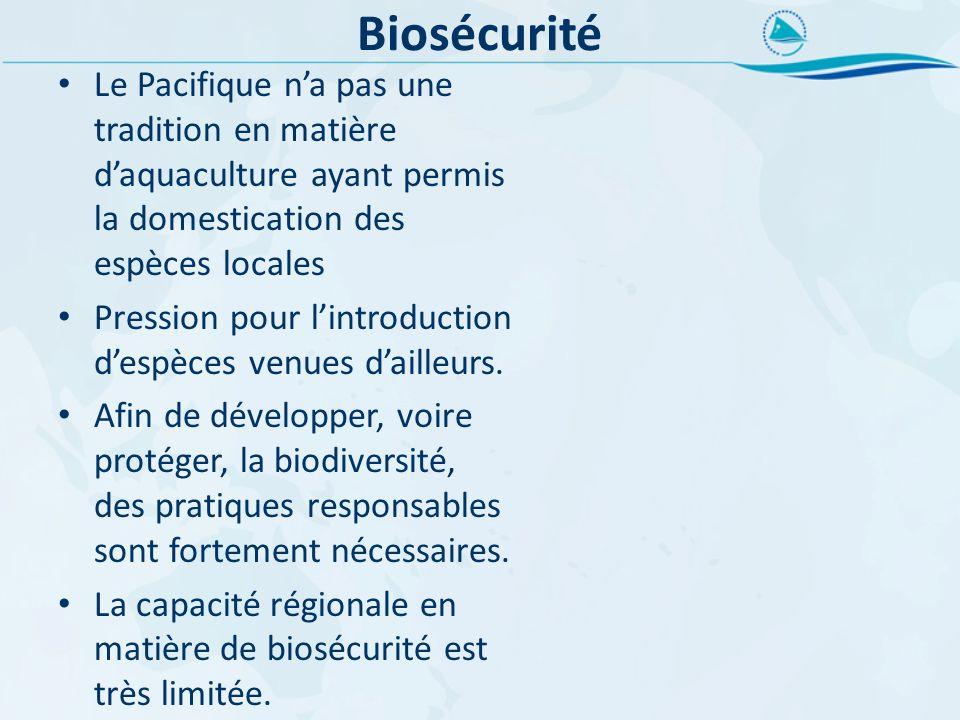 Biosécurité Le Pacifique n'a pas une tradition en matière d'aquaculture ayant permis la domestication des espèces locales.