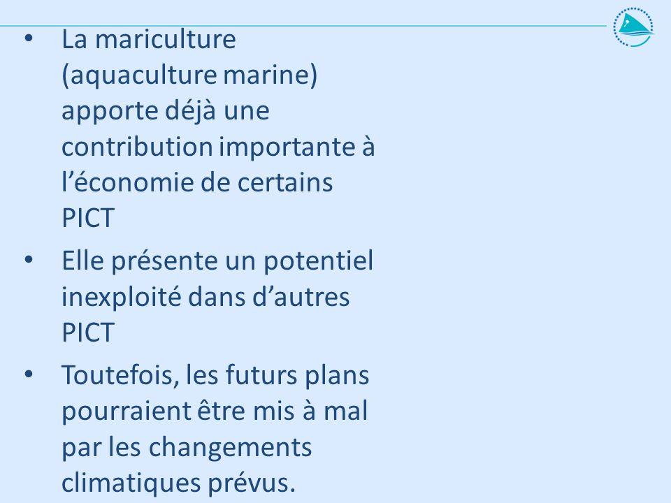 La mariculture (aquaculture marine) apporte déjà une contribution importante à l'économie de certains PICT