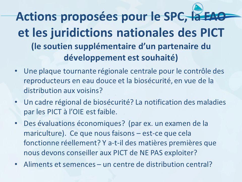 Actions proposées pour le SPC, la FAO et les juridictions nationales des PICT (le soutien supplémentaire d'un partenaire du développement est souhaité)
