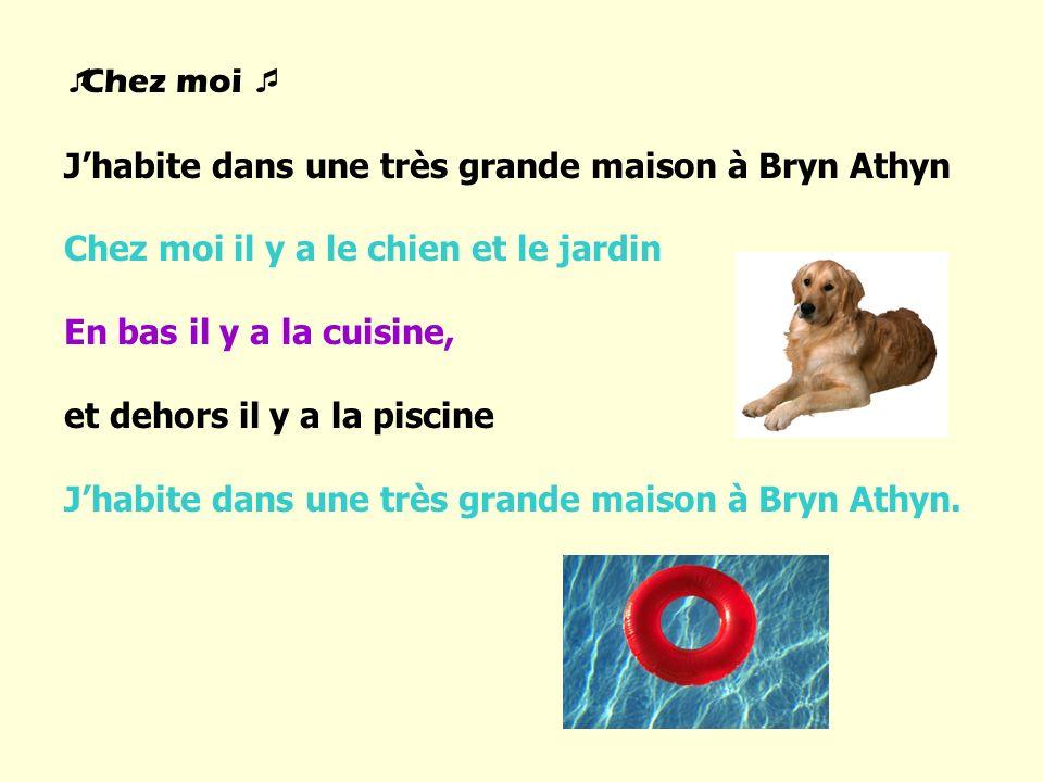 Chez moi J'habite dans une très grande maison à Bryn Athyn. Chez moi il y a le chien et le jardin.