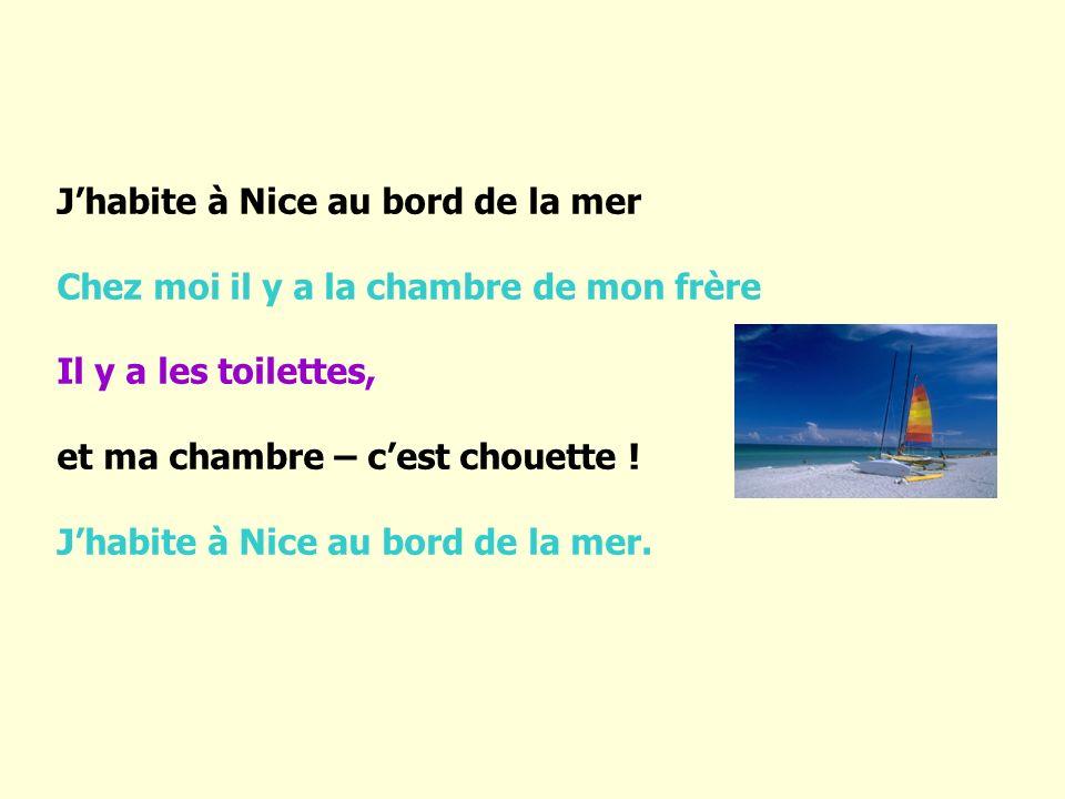 J'habite à Nice au bord de la mer