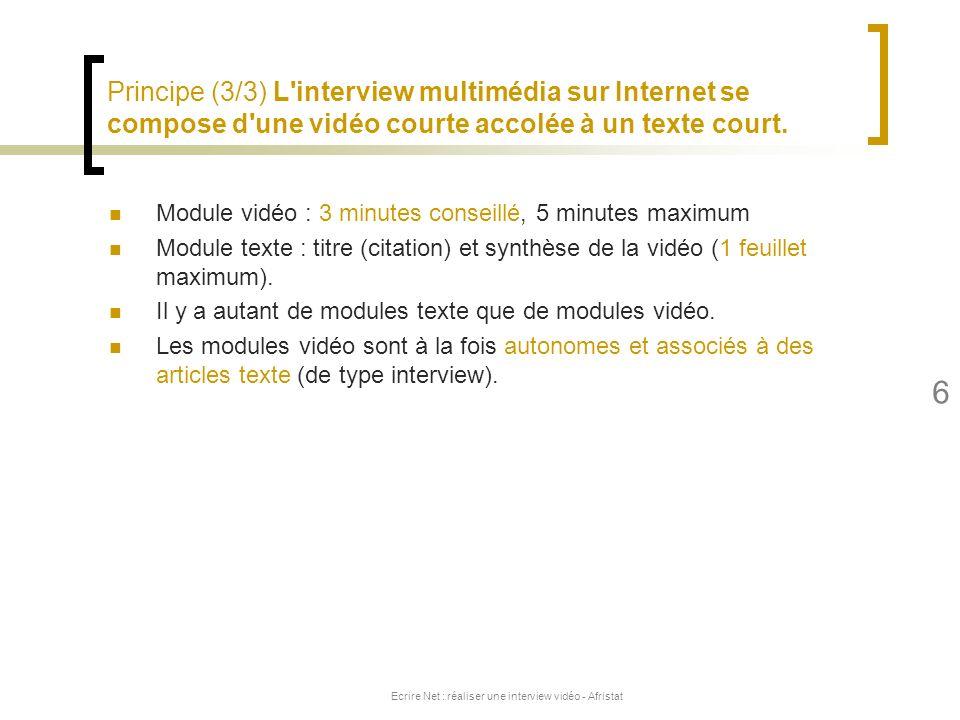 Ecrire Net : réaliser une interview vidéo - Afristat