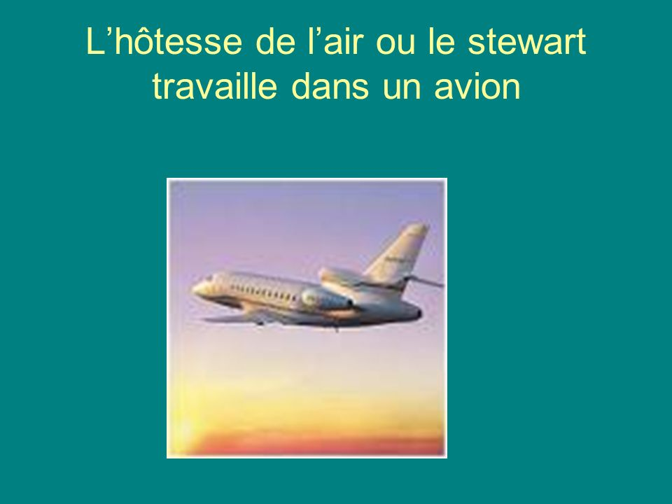 L'hôtesse de l'air ou le stewart travaille dans un avion