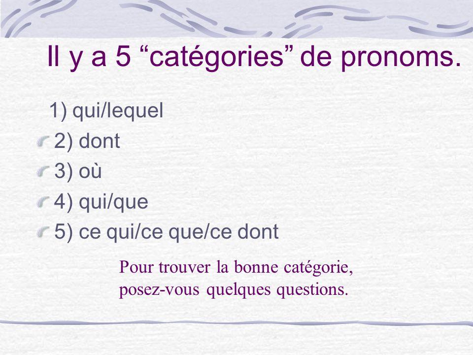Il y a 5 catégories de pronoms.