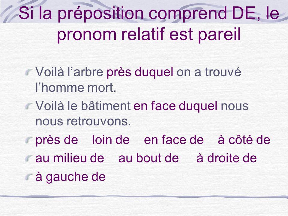 Si la préposition comprend DE, le pronom relatif est pareil