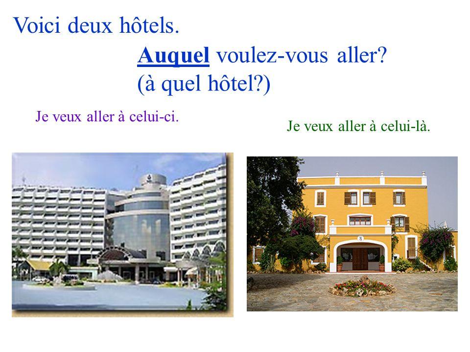 Auquel voulez-vous aller (à quel hôtel )