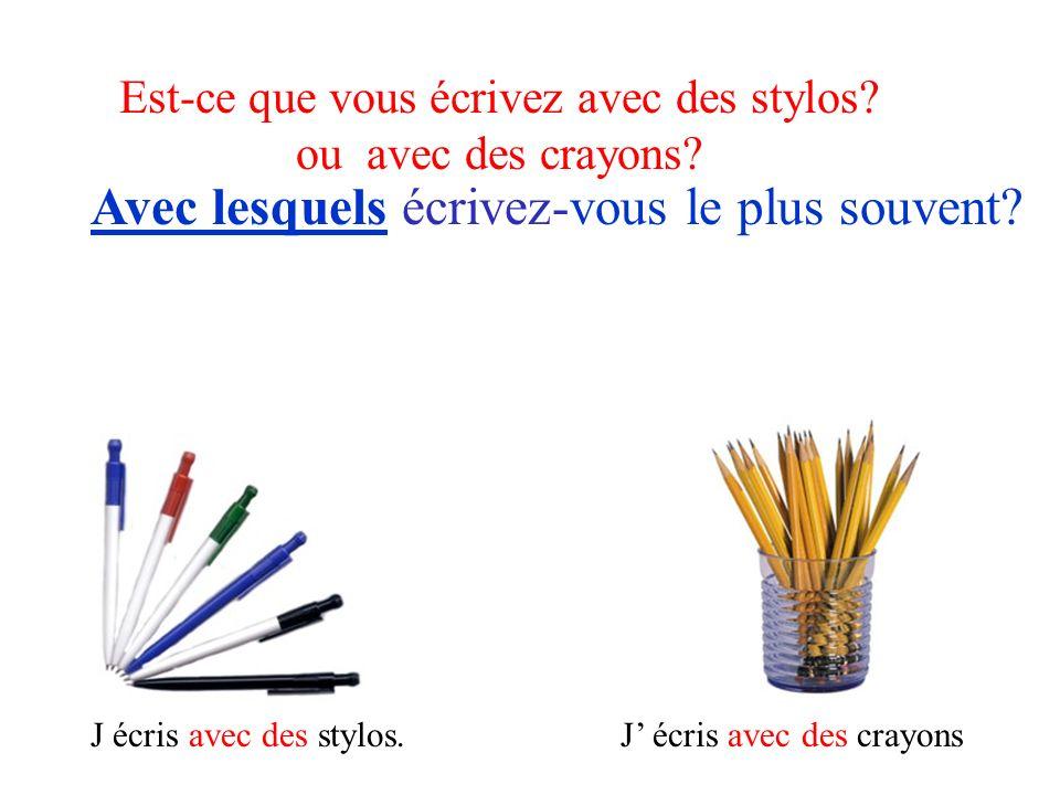 Est-ce que vous écrivez avec des stylos