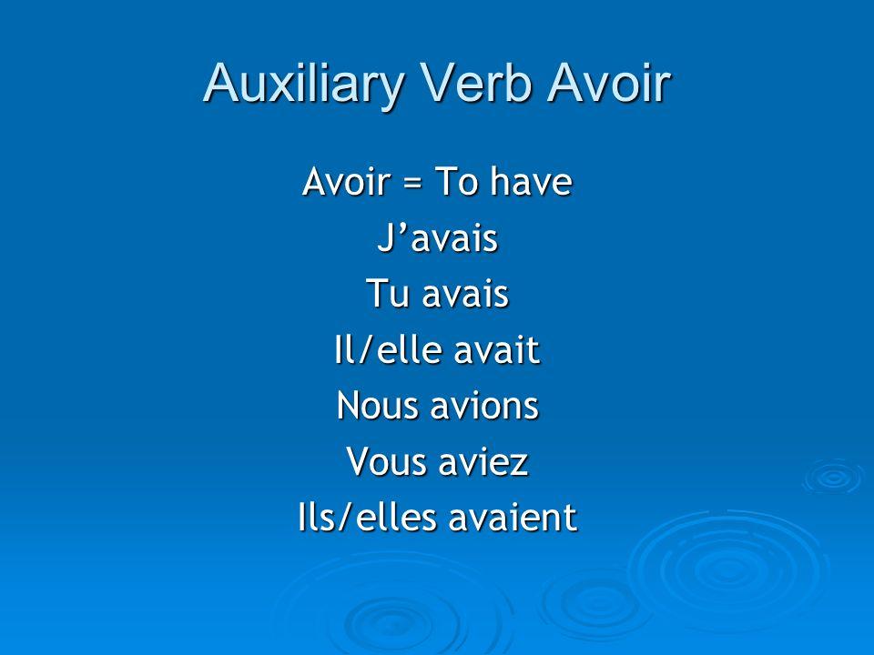 Auxiliary Verb Avoir Avoir = To have J'avais Tu avais Il/elle avait
