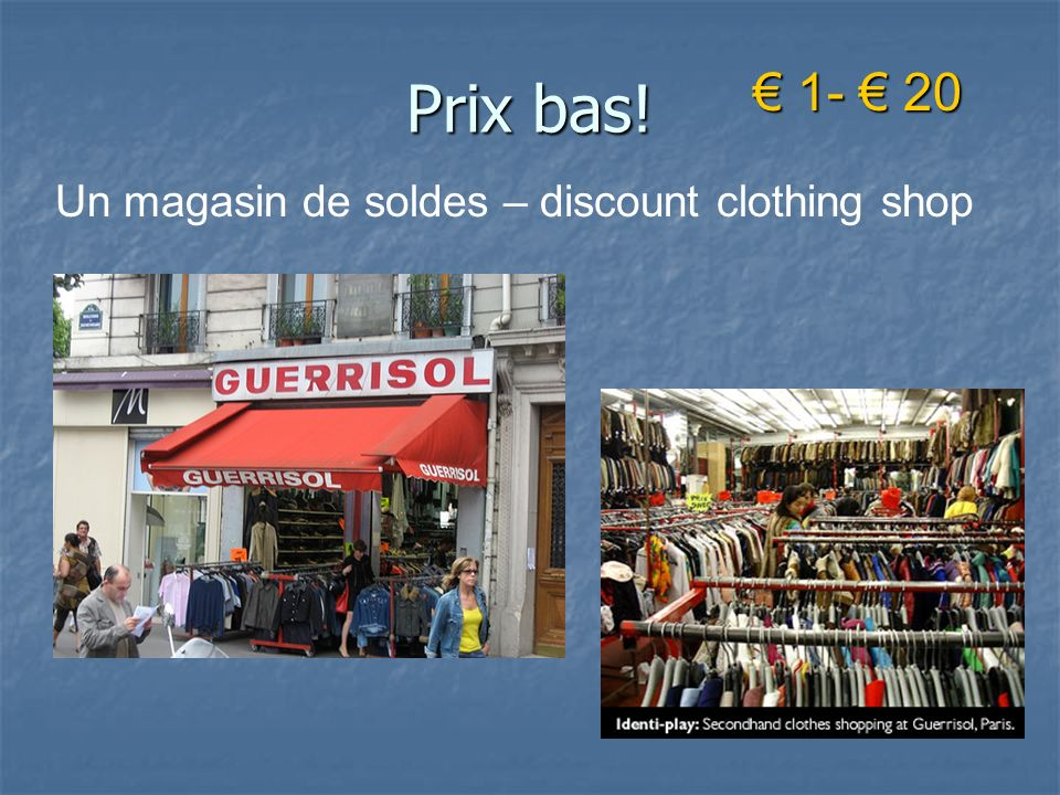 Prix bas! € 1- € 20 Un magasin de soldes – discount clothing shop