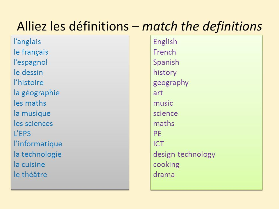 Alliez les définitions – match the definitions