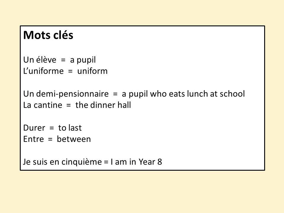 Mots clés Un élève = a pupil L'uniforme = uniform