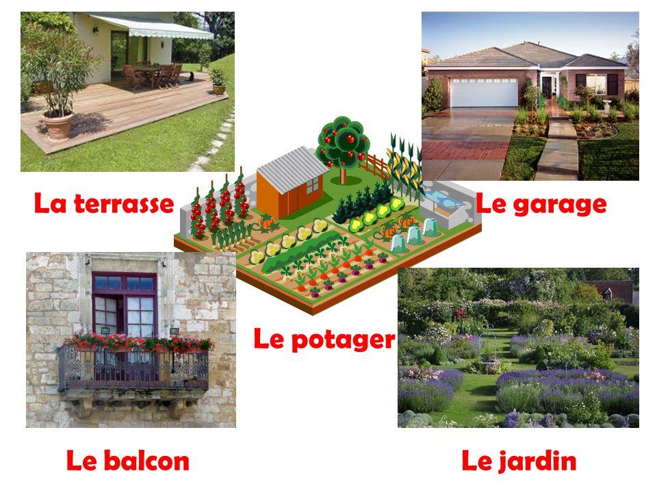 La terrasse Le garage Le potager Le balcon Le jardin