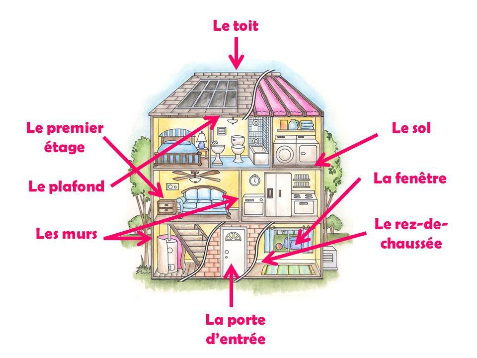 Le toit Le premier étage Le sol La fenêtre Le plafond Le rez-de-chaussée Les murs La porte d'entrée