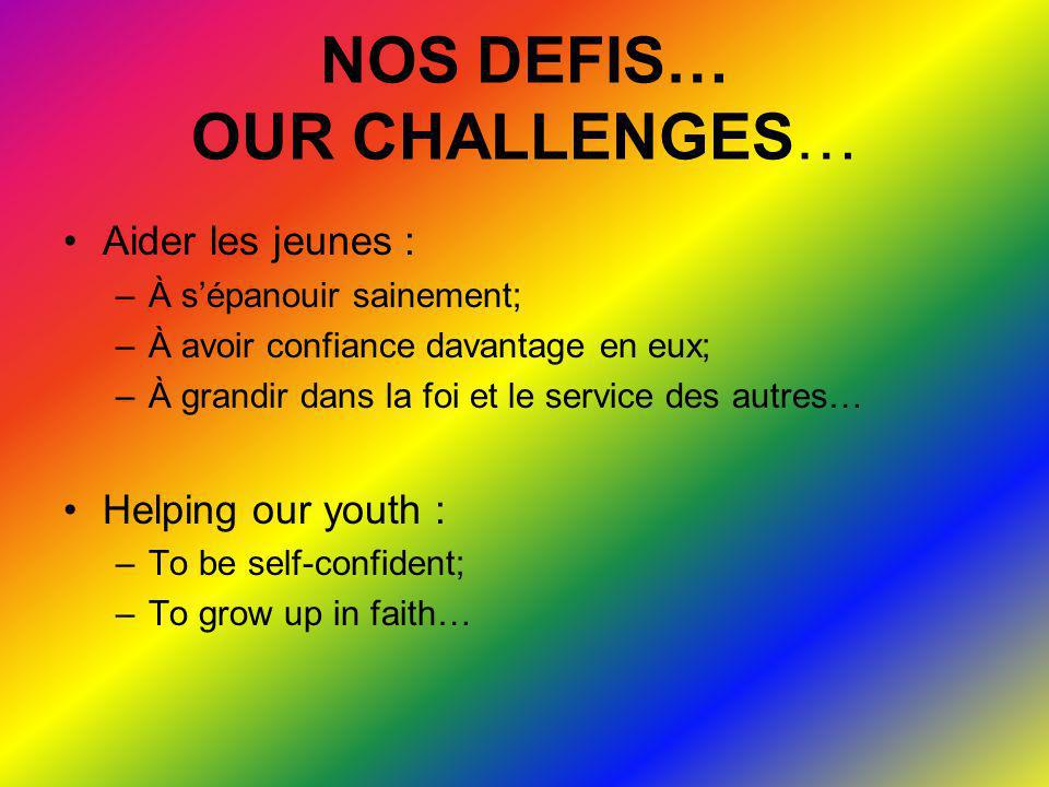 NOS DEFIS… OUR CHALLENGES…