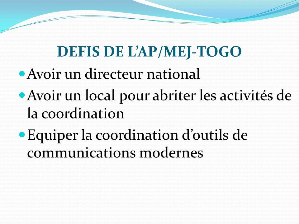 DEFIS DE L'AP/MEJ-TOGO