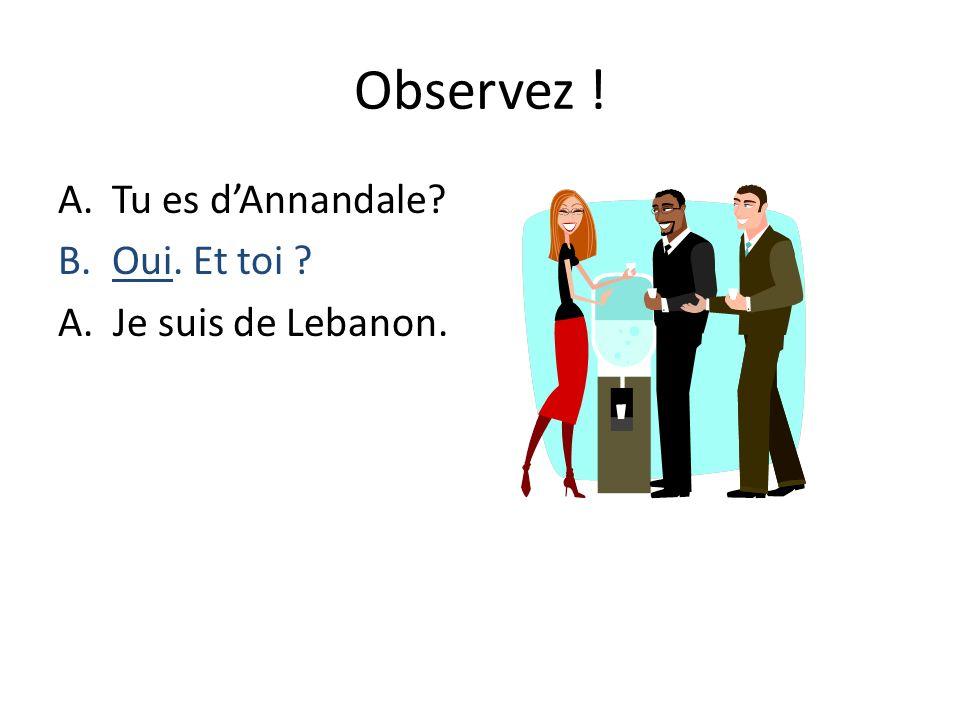 Observez ! Tu es d'Annandale Oui. Et toi A. Je suis de Lebanon.