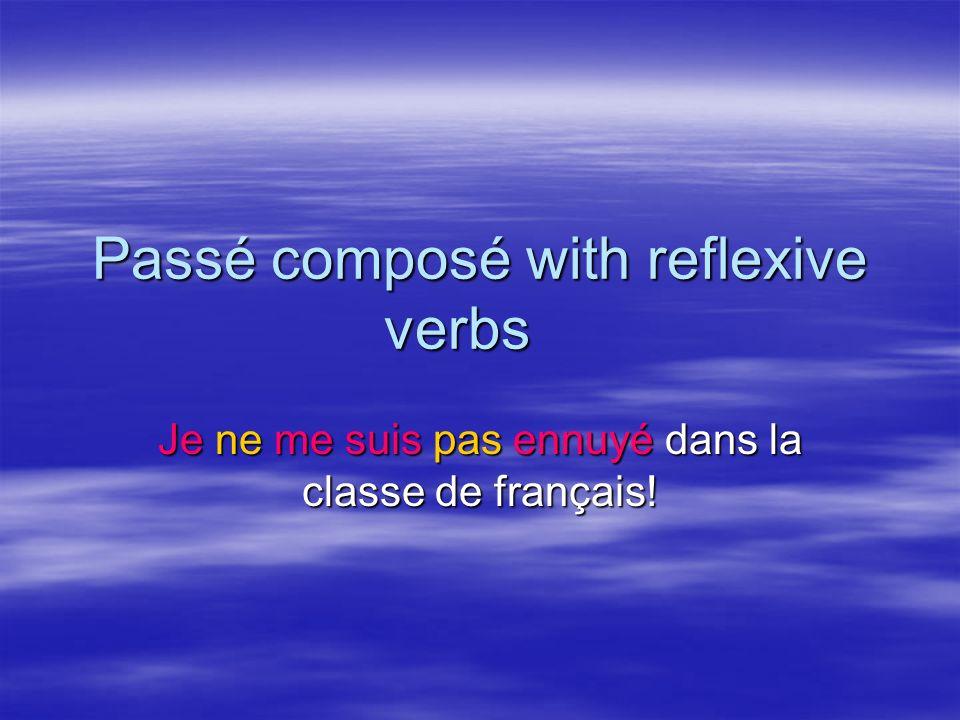Passé composé with reflexive verbs
