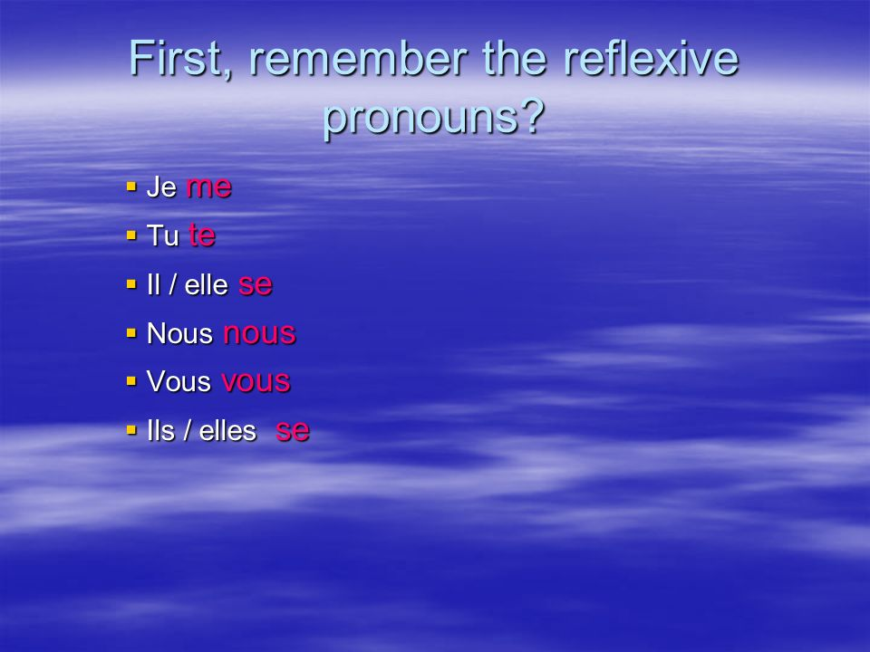 First, remember the reflexive pronouns