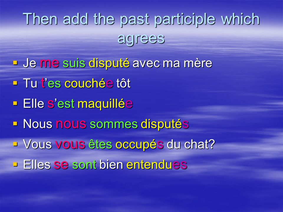 Then add the past participle which agrees