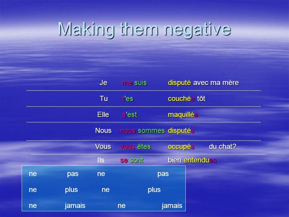 Making them negative Je Tu Elle Nous Vous Ils me suis