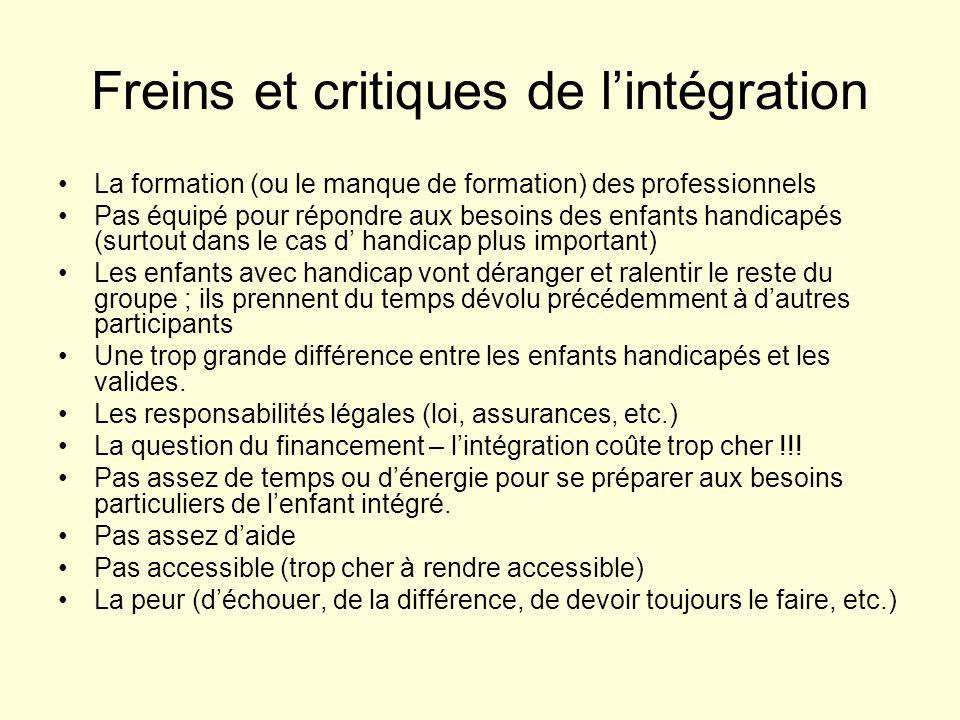 Freins et critiques de l'intégration