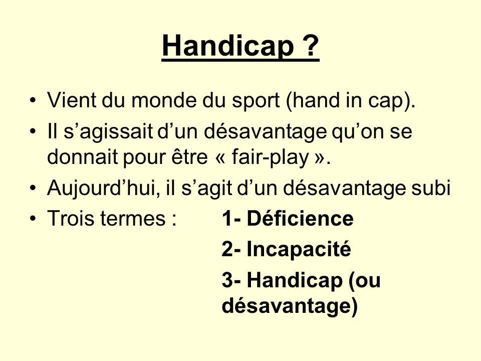 Handicap Vient du monde du sport (hand in cap).